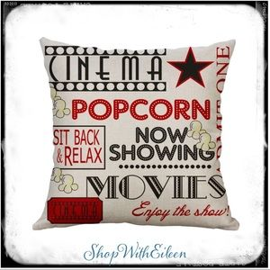 Movie Theater Popcorn Set of 2 Pillow Covers